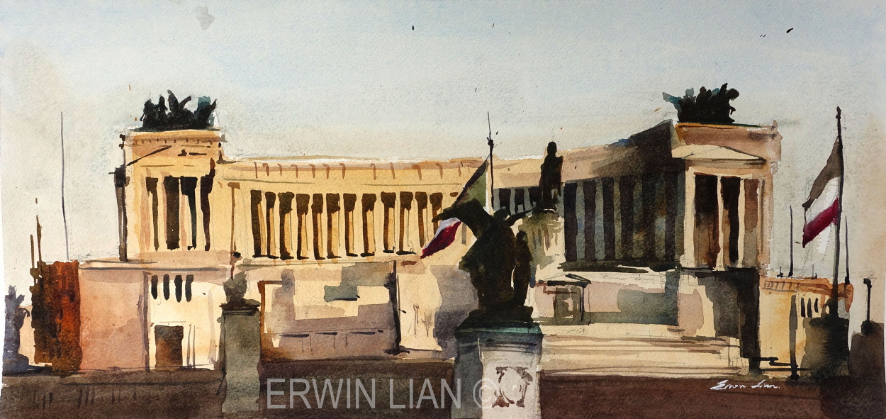 Monument to Victor Emmanuel II, 53 cm x 24.5 cm , Transparent Watercolor.