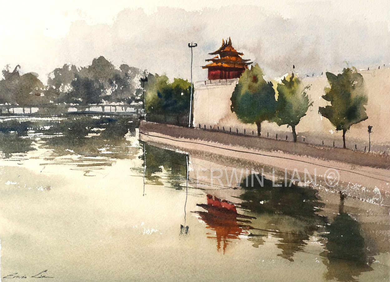 Reflections by Forbidden City, 33 cm x 23 cm, Transparent Watercolor
