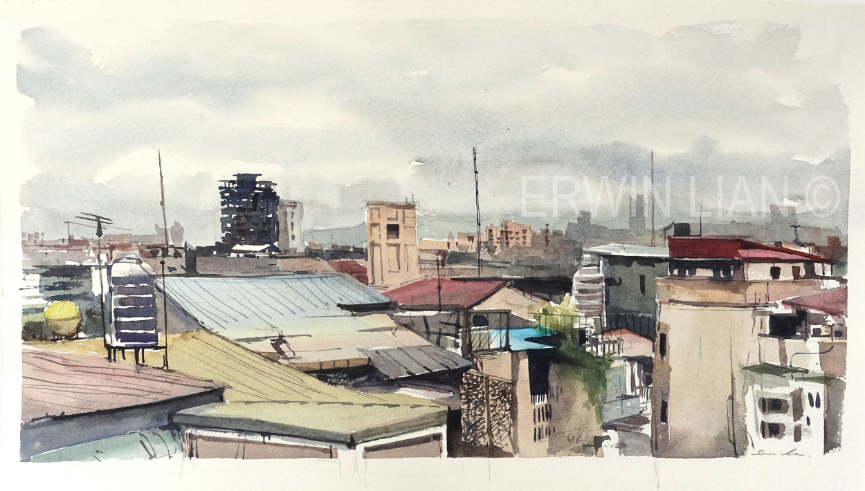 A storm in Taipei, 41.5 cm x 22 cm, Transparent watercolor