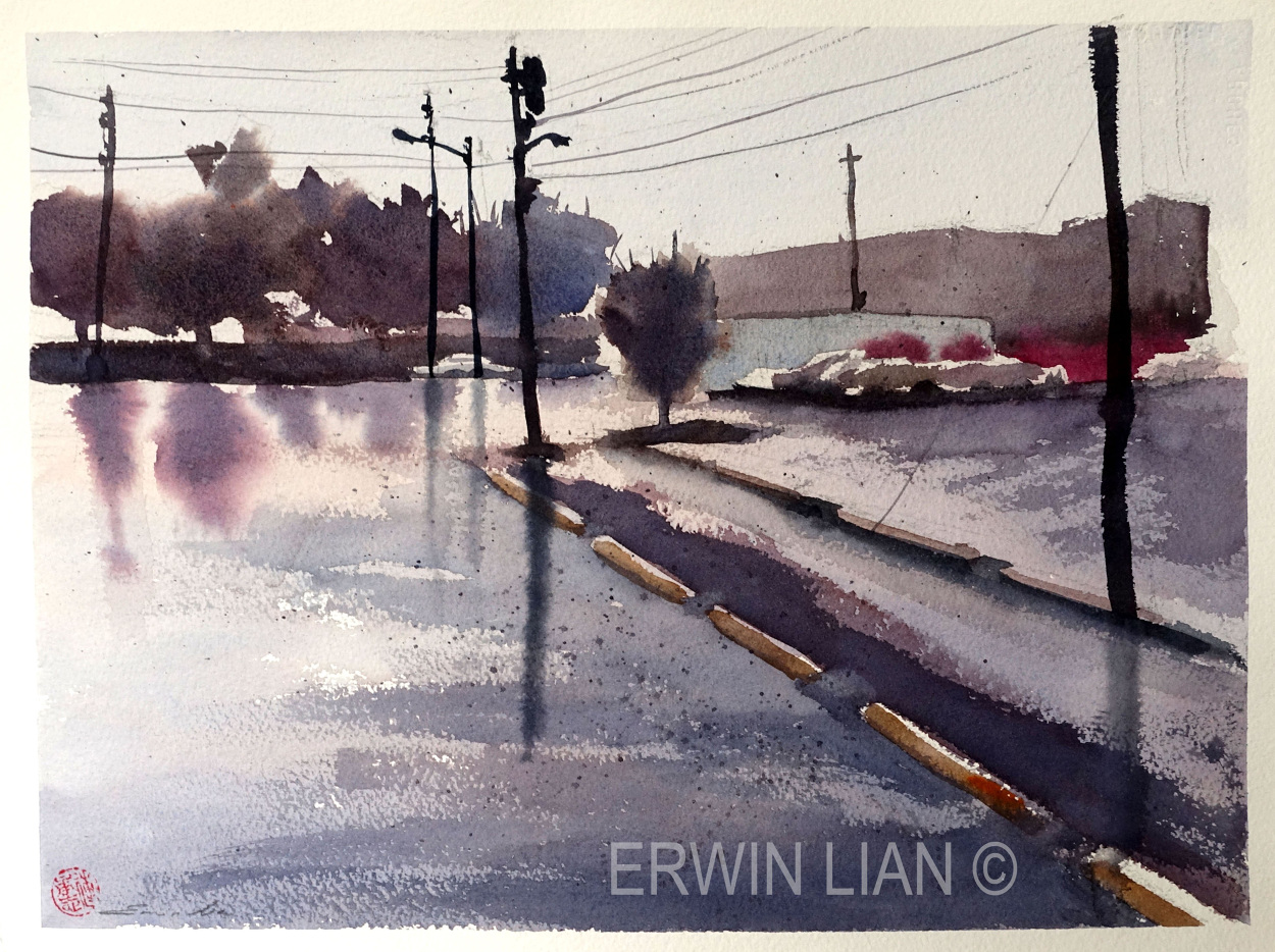 Parking lot opposite Topiary Park, 52cm x 23.5 cm, Transparent Watercolor