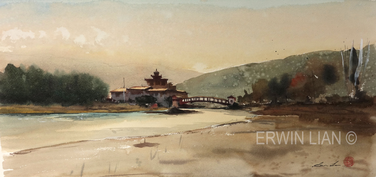 Punakha Dzong, 54.5cm 25 cm, Transparent Watercolor
