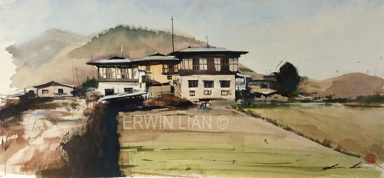 Farmhouse in Bhutan, 52cm x 23.5 cm, Transparent Watercolor & Gouache