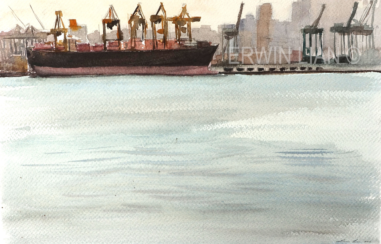 Port of Singapore, 54 cm x 35 cm, Transparent Watercolor