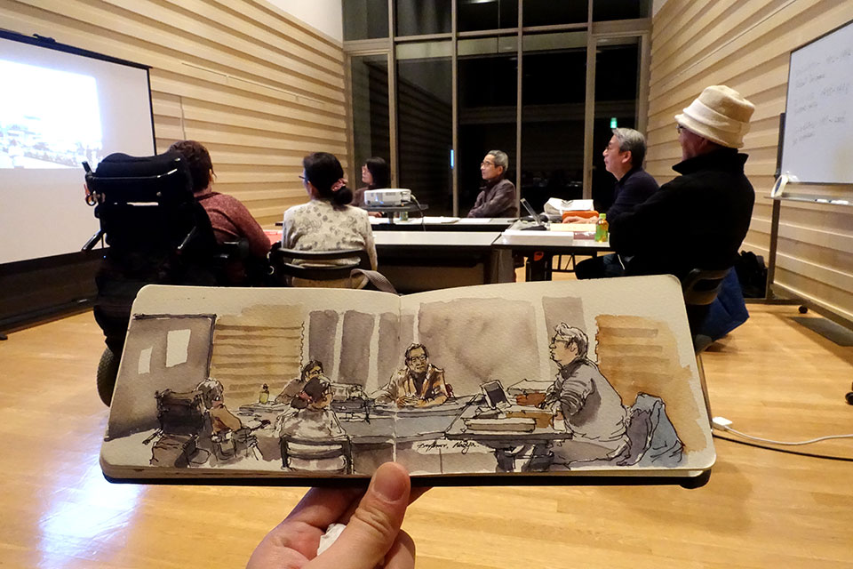 Sketch of a workshop by Naoya Yoshikawa. Another fellow Artists in residency at AIAV