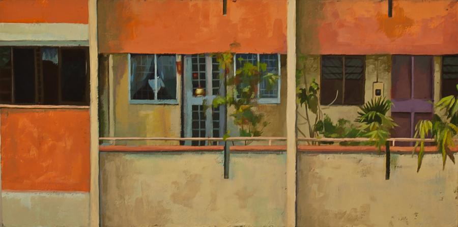 Title: Orange and Corridor  | Acrylic on Canvas | 50.5 cm X 25.4 cm