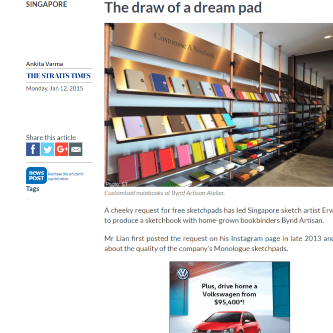 The Perfect Sketchbook Pocket on The Straits Time