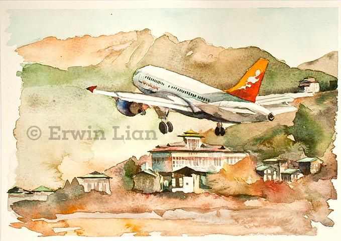 Painting included in the 2014 Drukair Calendar