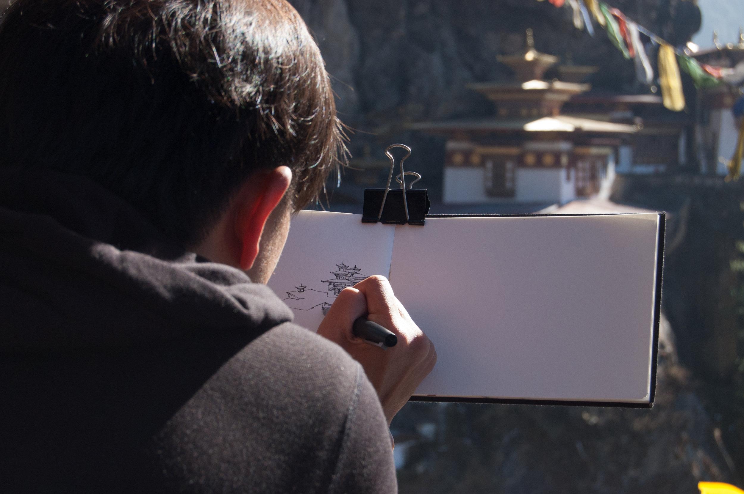 Sketch Bhutan with me & Drukasia