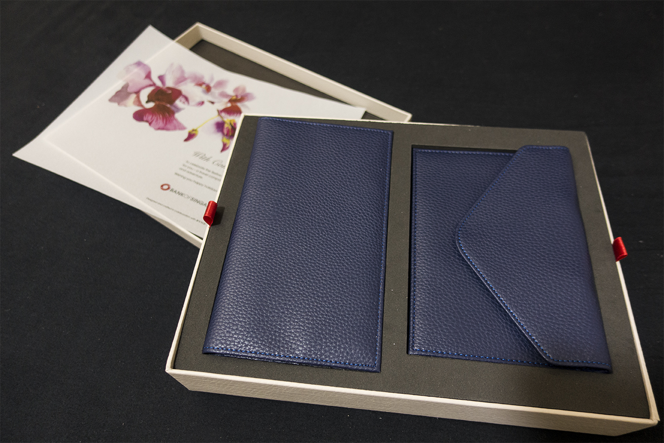 A leather wallet and passport holder.
