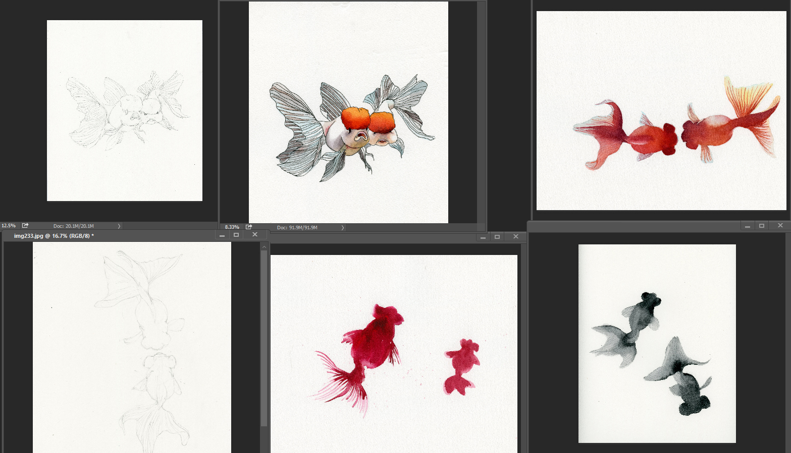 Preliminary sketches and test render of goldfishes.