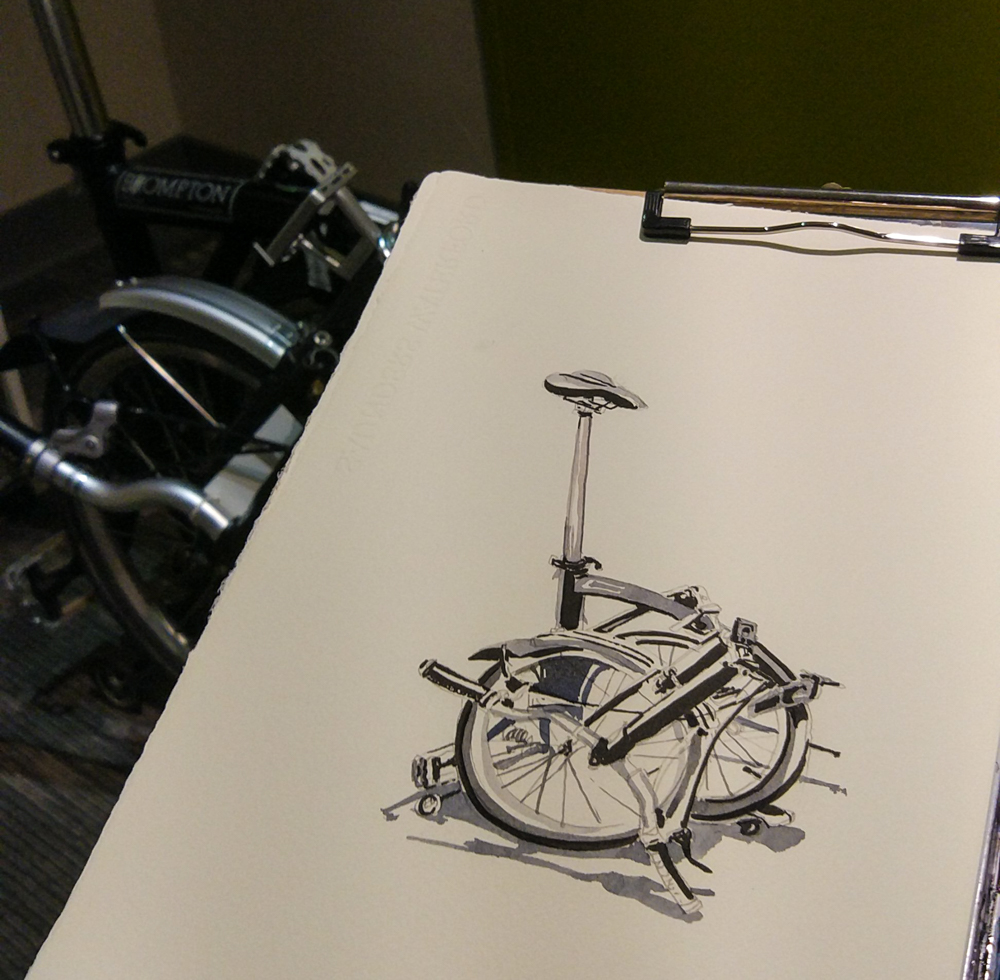 I sketched the Brompton in the hotel and gave this sketch to Hughes. Thankful to be able to ride his Brompton in Taipei. It would have been a lot more troublesome to bring mine.