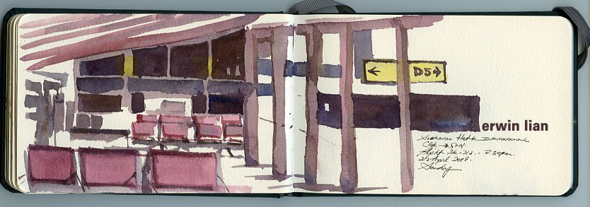 Soekarno–Hatta International Airport. I decided to paint without drawing.