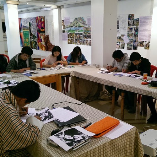 Teaching basic of drawing at VAST Bhutan