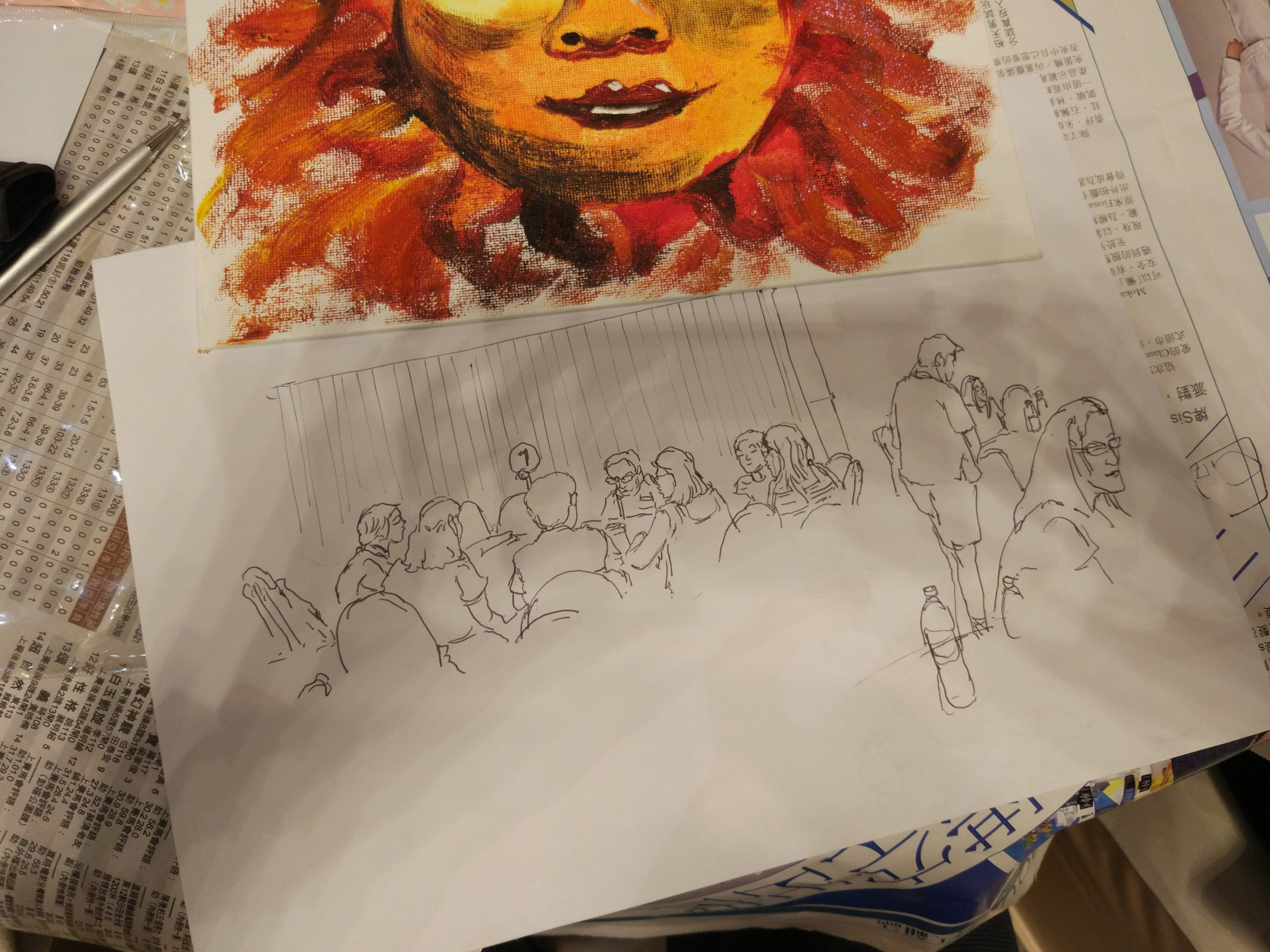 Induction program pauses with a school gathering in a Hotel with team bonding activities and tasks. Didn't have an ipad so its down to the hotels' pen and paper. There was a painting competition to draw a sun ...and I rubbed some pigment on the canvas and turned it in. Ha Ha, I won the competition .... duh