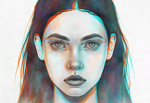 Double Exposure Series - Mixed media illustrations exploring traditionally created portraits with a digital overlayered 3D feel.