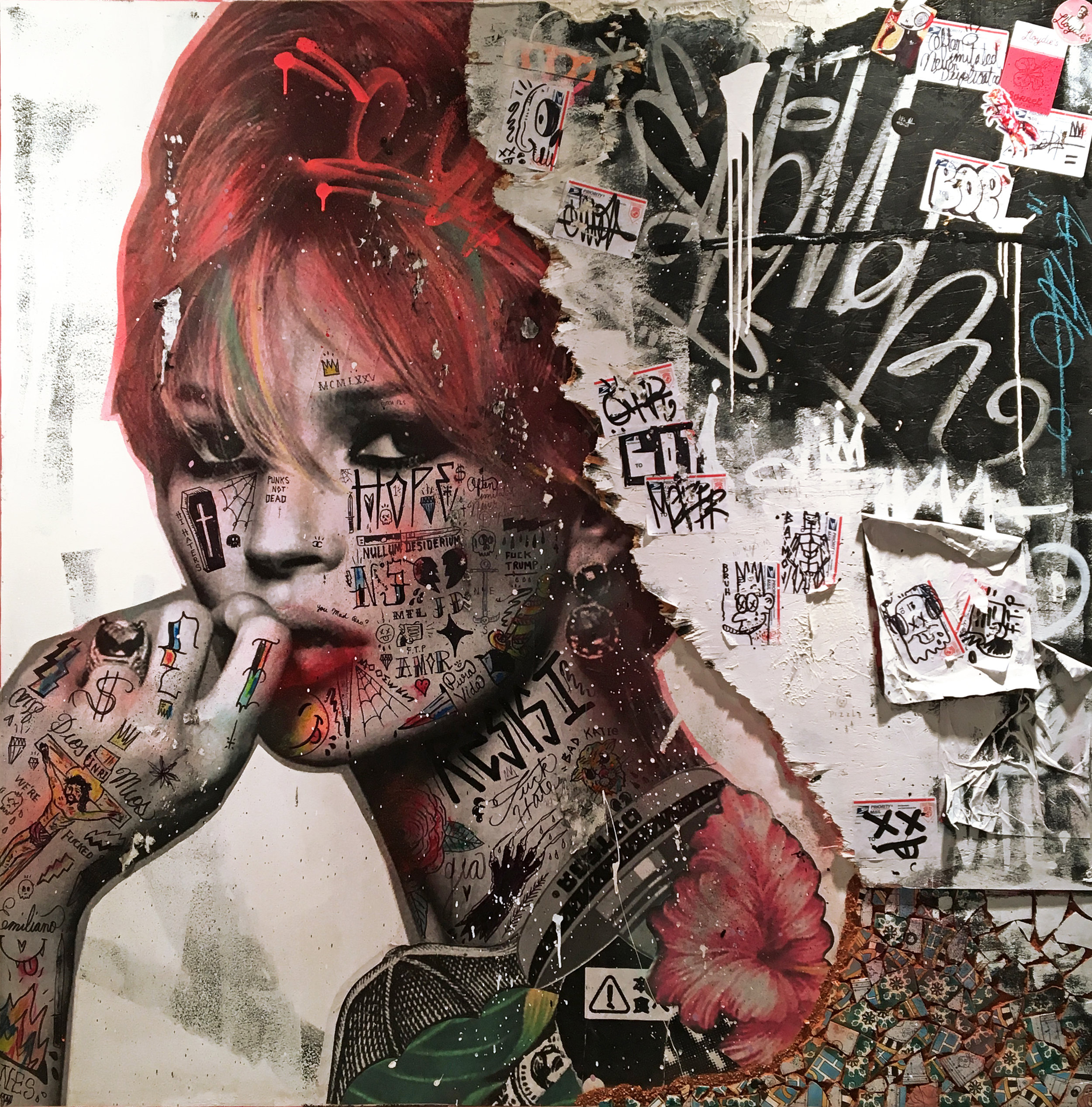 - STIKKI PEACHES | BITCH PLEASE IT'S KATE MOSSMixed media on canvas with reclaimed wood & Tunisian hand painted tiles152 x 152 cm | 60 x 60 in2018