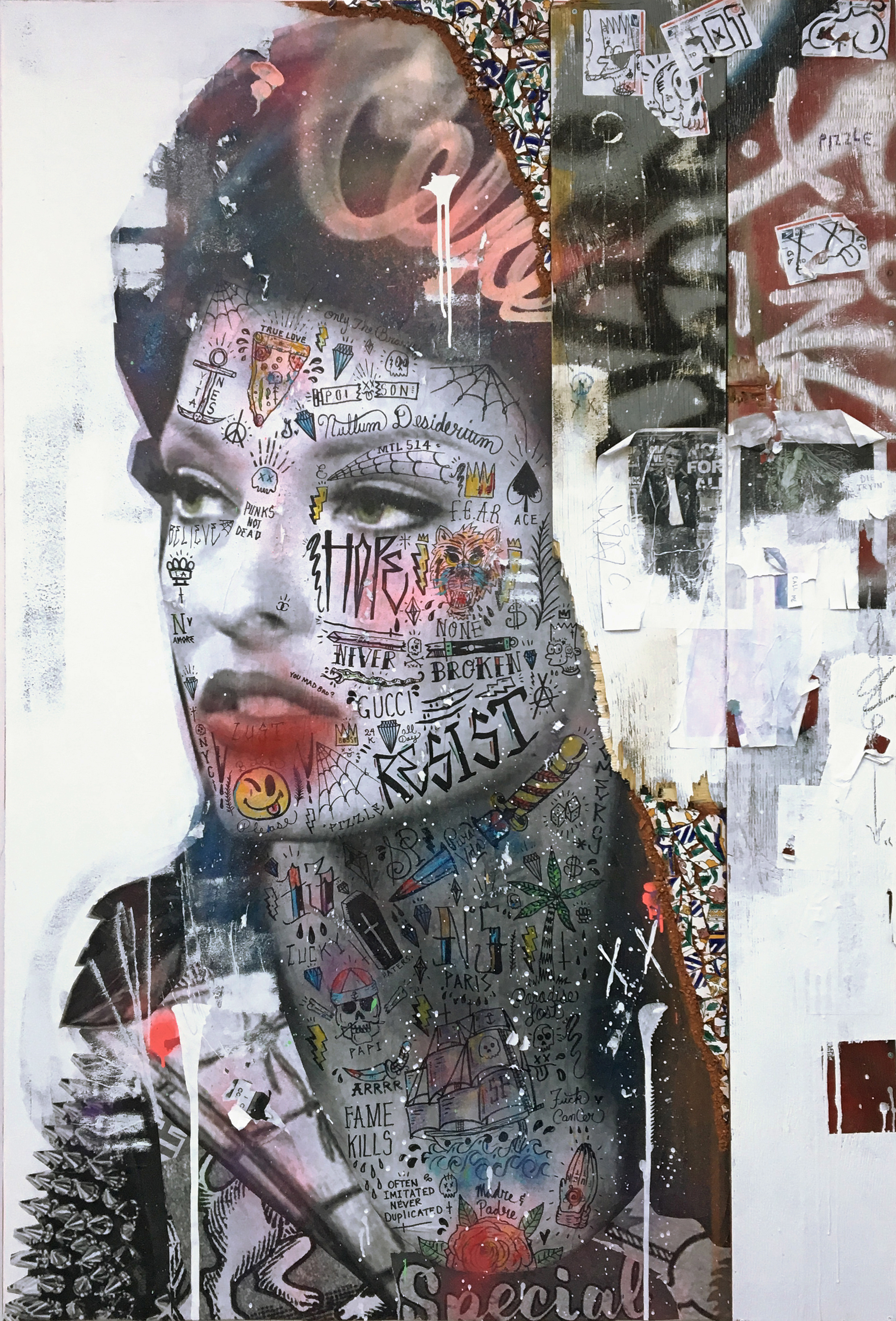 - STIKKI PEACHES | CALL ME (LINDA EVANGELISTA)Mixed media on canvas with reclaimed wood & Tunisian hand painted tiles183 x 122 cm | 72 x 48 in2018