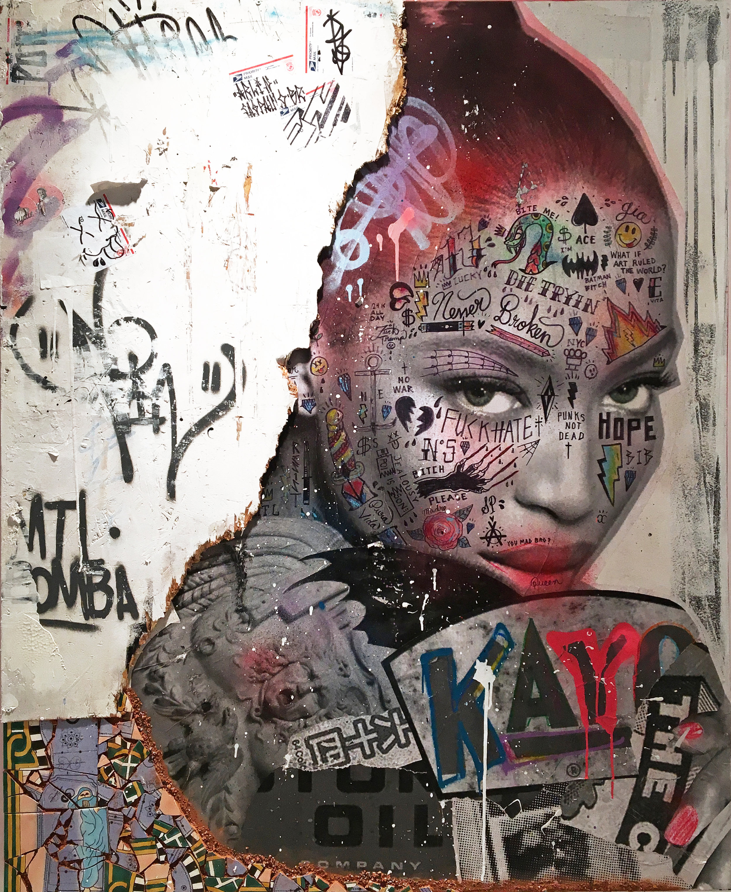 - STIKKI PEACHES | FEARLESS (NAOMI CAMPBELL)| Mixed media on canvas with reclaimed wood & Tunisian hand painted tiles152 x 122 cm | 60 x 48 in2018
