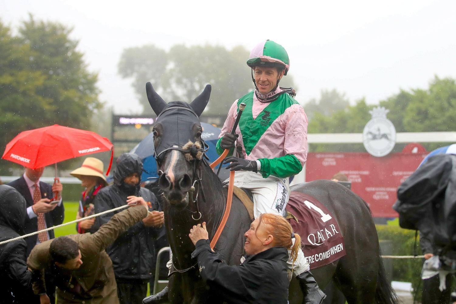 Jim Crowley winning on Here Comes When in the Sussex Stakes
