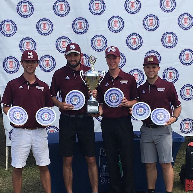 Congratulations to Prodigy team member Jacob Henson, who along with his fellow Bulldogs Steve Hillerman, Micah Peacock and Trevor Strong, led Mississippi State to a triumphant win at the National Collegiate Disc Golf Championship this past weekend! ••• See the #TeamProdigy Weekend Round-up at prodigydisc.com ••• #prodigydisc #poweredbyprodigy #throwprodigy #discgolf #ncdgc #pdga #msstate