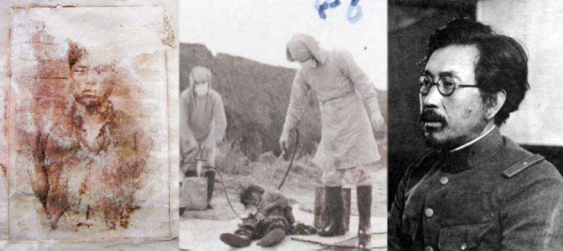 """from left: a photograph of Lee Gi-Su, a Korean victim of Unit 731 (from  Chosunilbo ), a photograph released from Jilin Provincial Archives, which, according to Xinhua Press, """"shows personnels of 'Manchukuo' attend a 'plague prevention' action which indeed is a bacteriological test directed by Japan's 'Unit 731' in November of 1940 at Nong'an County, northeast China's Jilin Province"""" ( wikimedia commons ), a photograph of Shiro Ishii (masao takezawa /  wikimedia commons )"""