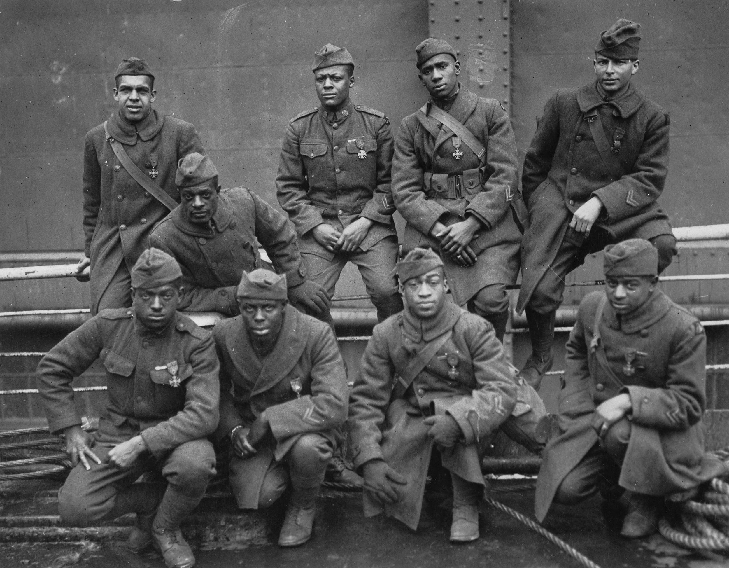 A group of soldiers pose from the 93rd Division's 369th Infantry Regiment, which was nicknamed the 'Harlem Hellfighters.' /  US National Archives