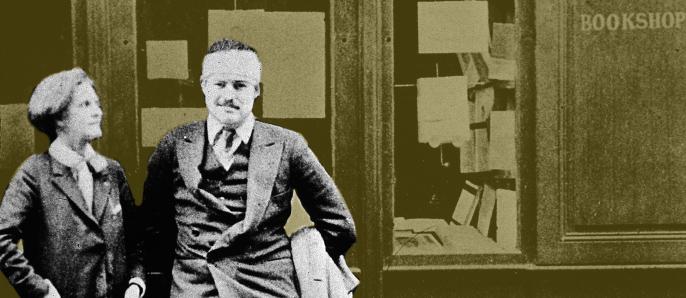 Hemingway en la librería parisina Shakespeare & Co.