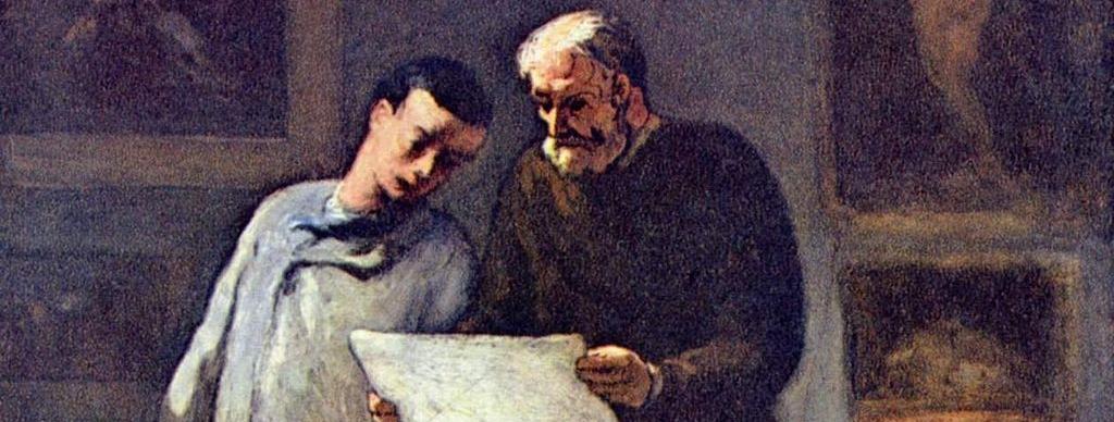 Joven artista recibe un consejo. Honoré Daumier.