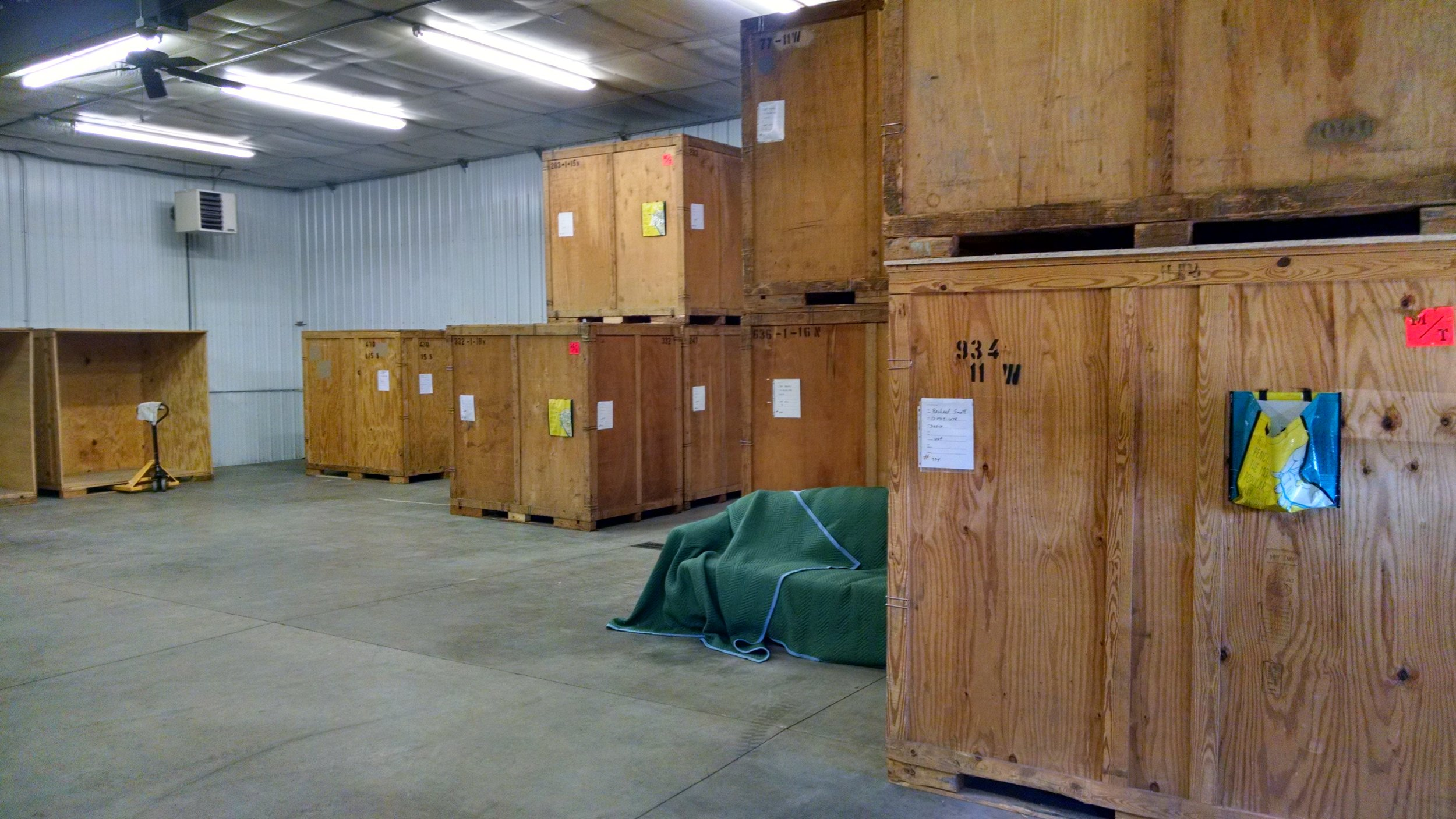 Contents crates and furniture in storage
