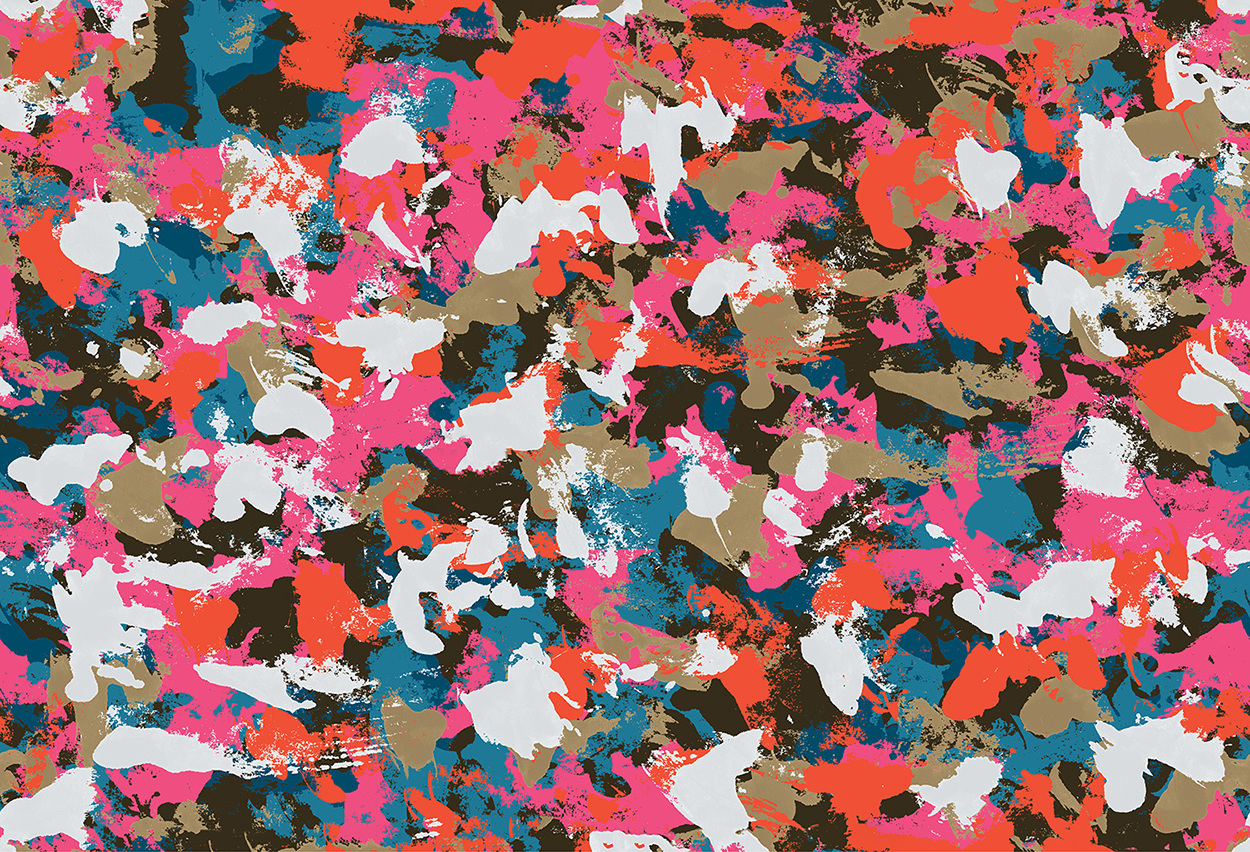 Painterly camo in pop art colours, 2018