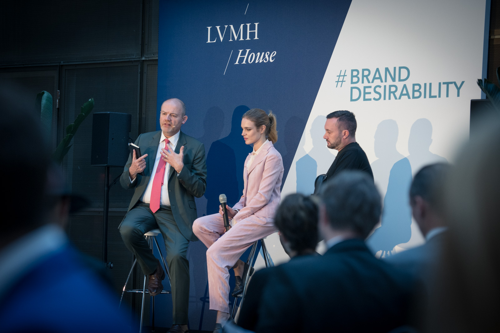 Natalia Vodianova speaks with Mark Thompson, President and CEO of  New York Times , and Kim Jones, Creative Director of  Christian Dior Homme