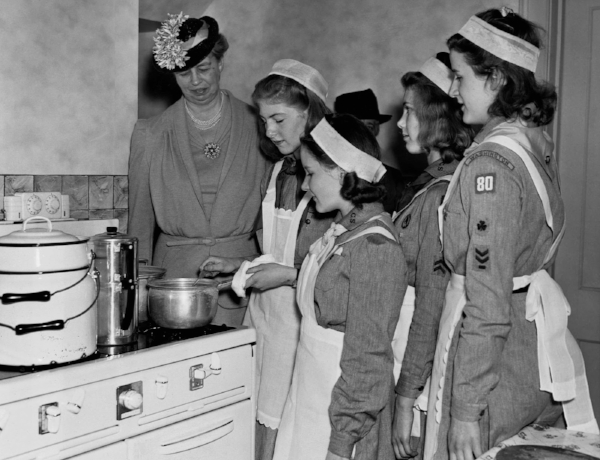 The Maplewood Girl Scouts present Honorary judge Eleanor Roosevelt with their ancho-infused seitan vegetarian entry at the 1939 Maplewood Chili Cookoff.