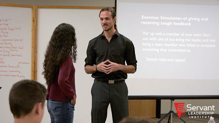 SLI Trainer Alex Fairman in action during CSLA class.