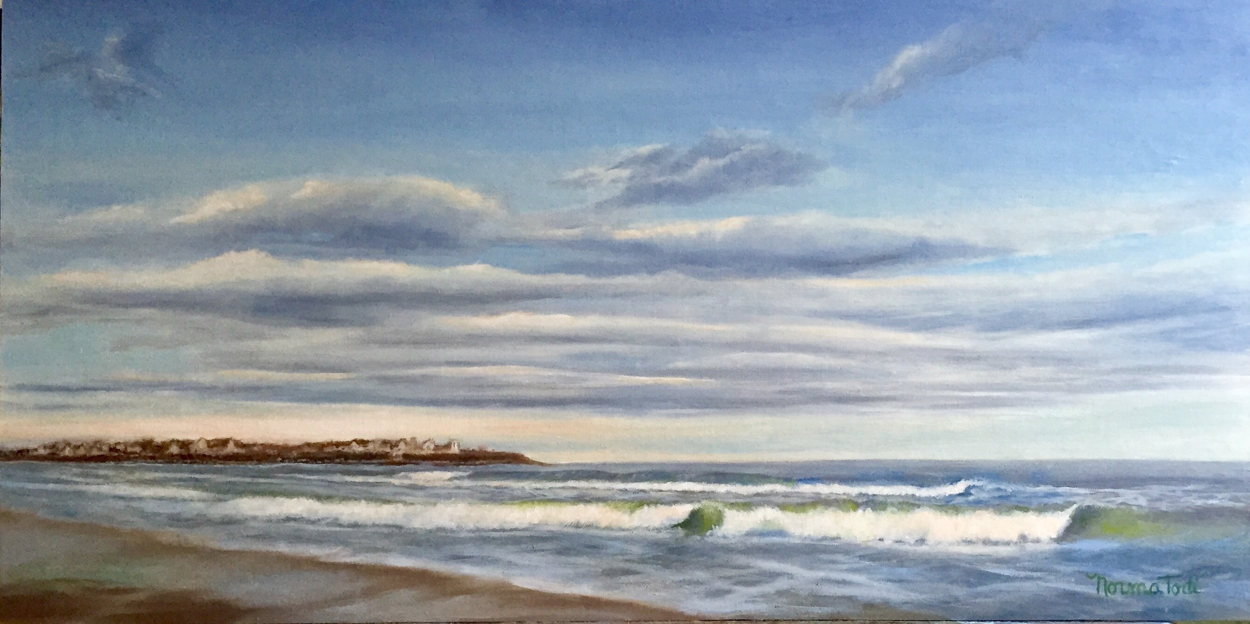 Cool Morning at Hampton Beach 24.5x12.25, oil on canvas on board