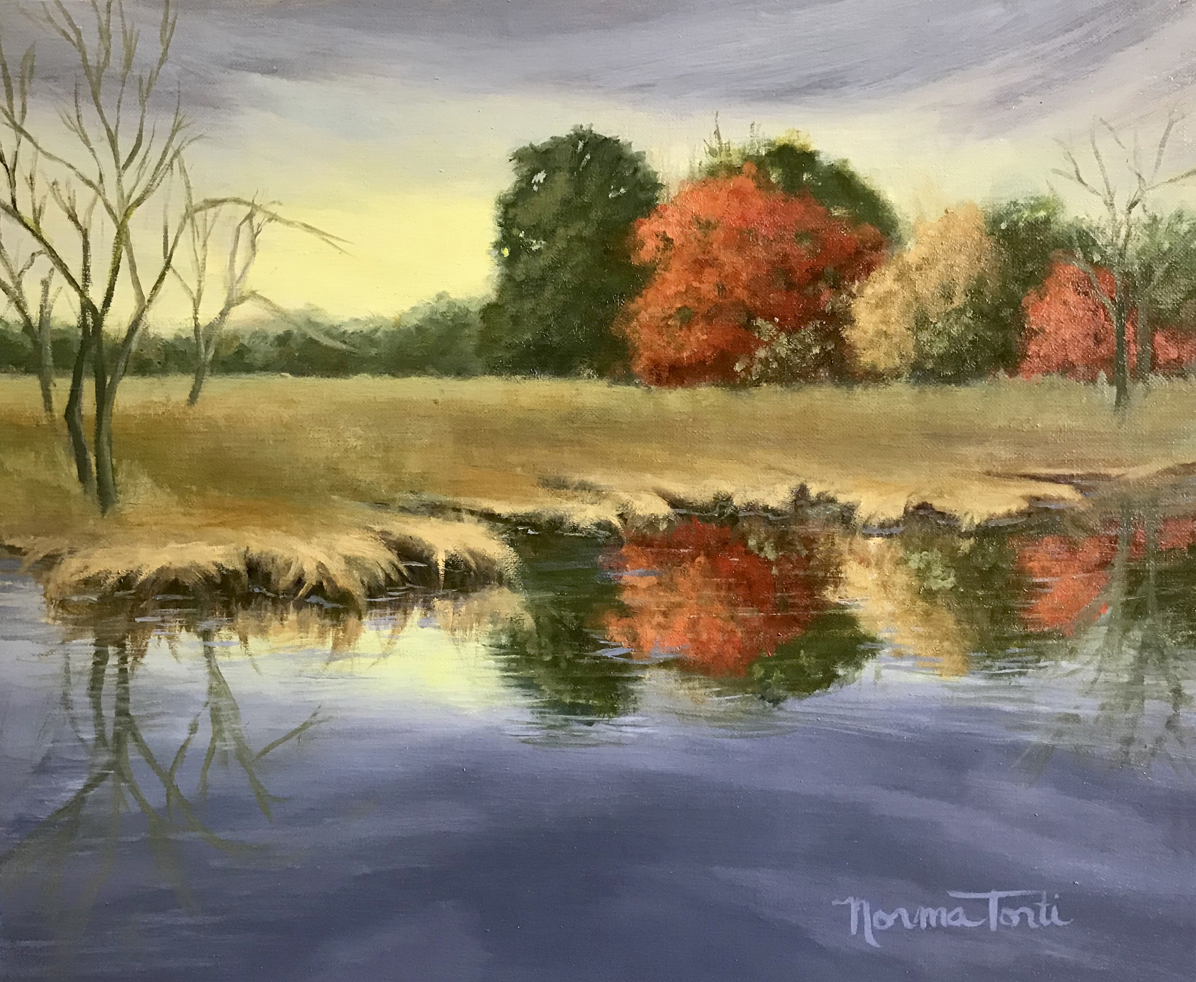 Fall Reflections, 12x10, oil on canvas on board