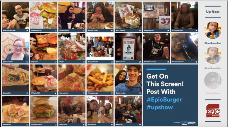 A snapshot of Chicago-based Epic Burger's UPshow Screen