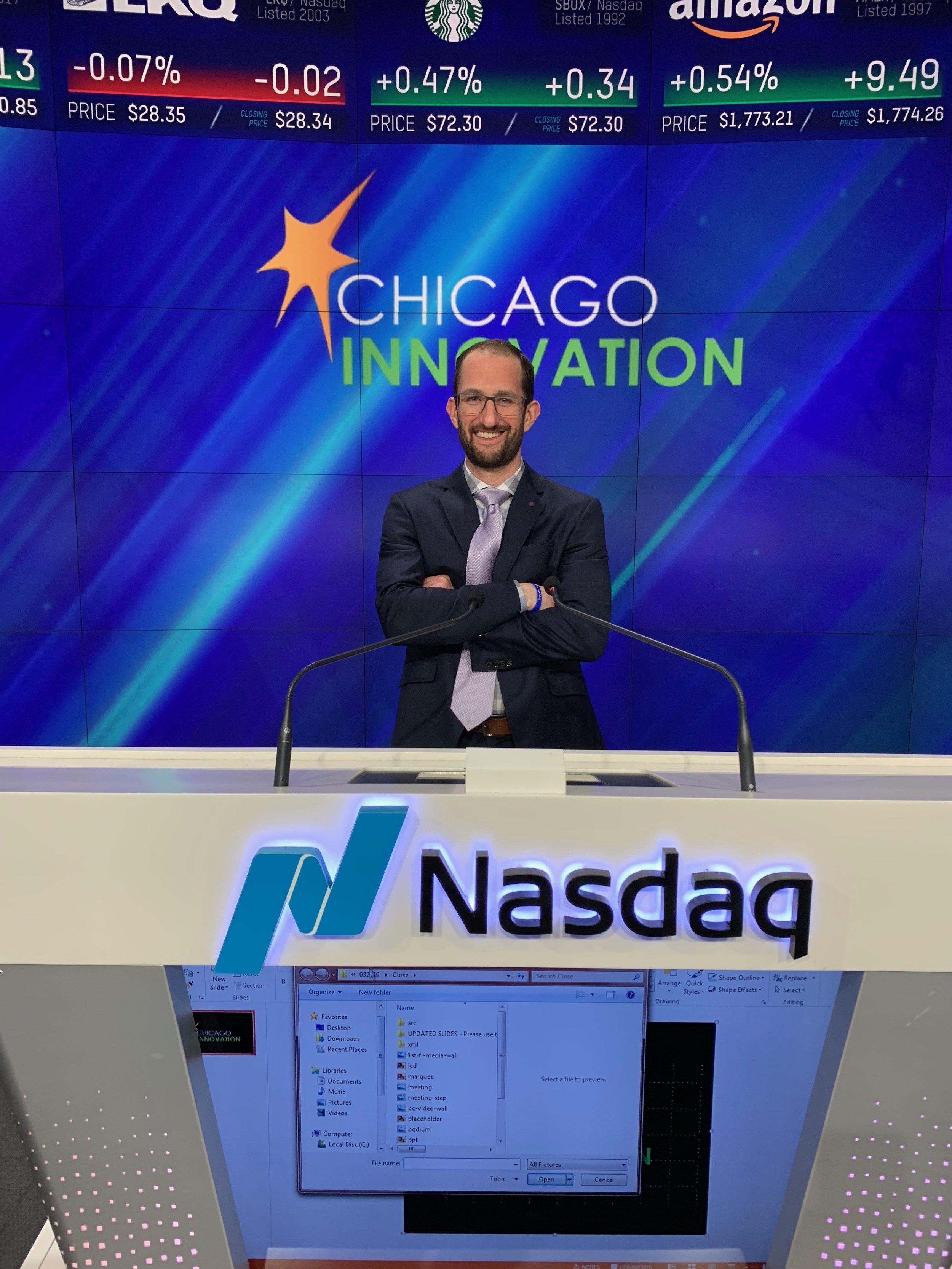 CEO Adam Hirsen rings the NASDAQ closing bell.