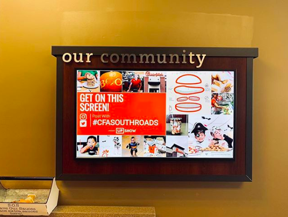 Chick-Fil-A leverages the digital signage in their restaurant as community boards.
