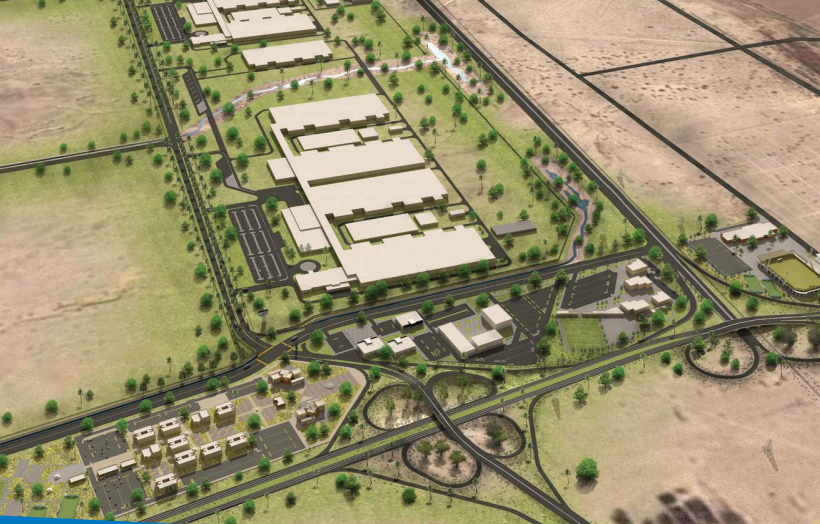 """Rendering of phase 1 of Silicon Border development, to include a """"Science Park"""" as well as housing and a commercial units. Source: Silicon Border."""
