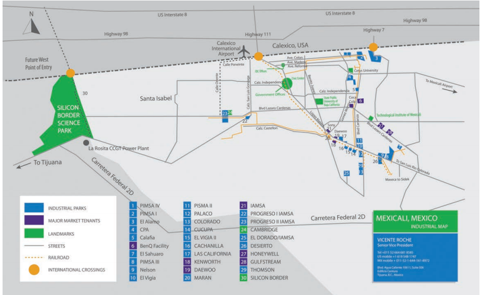 Map produced by Silicon Border developers shows the massive scale of the development when compared to Mexicali, with a population of 700,000. Also, blue boxes represent other, smaller, manufacturing parks all built along international railways and international ports of entry. Source: Silicon Border.