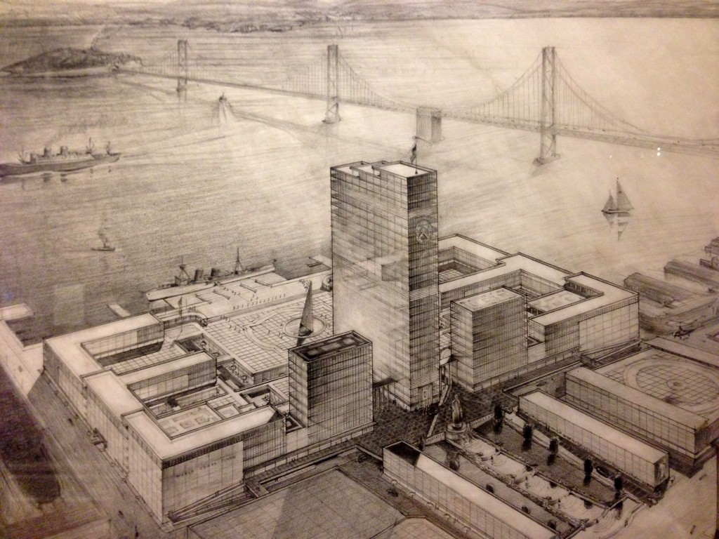 Another vision would have done away with the Ferry Building altogether and replaced it with a modern World Trade Center. The slender center tower and sun dial seem to allude to the structures they would have replaced. Source: Joseph H. Clark (1951).