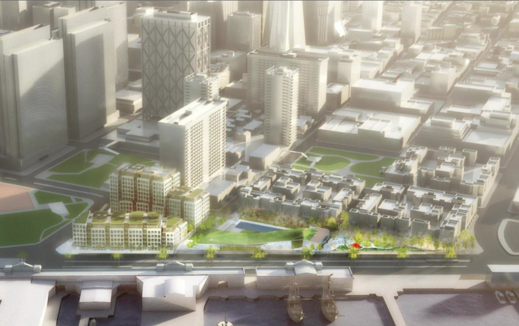 This rendering, drawn up by supporters of 8 Washington, takes an elevated perspective, showing the tall buildings of the Financial District in the background, to downplay the project's heights.