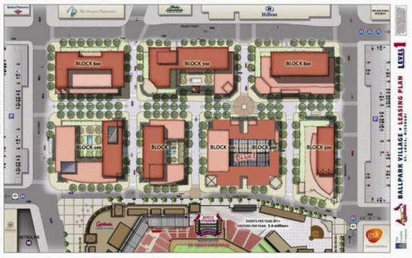 An early plan for the development shows the introduction of six city blocks.  Source: nextSTL