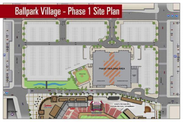 An early 2013 plan also shows the diminished street grid and the replacement of housing and retail with surface parking.  Source: nextSTL