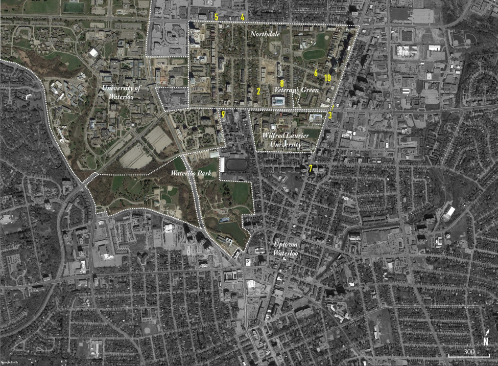 Figure 1:  The location of Northdale and adjacent universities. Numbers indicate the locations of photos in this essay. Map Source: © 2016 Google