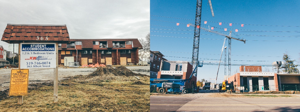 Figure 4:  On the left, a relatively low-rent apartment building is boarded up prior to demolition in February, 2016. On the right is the same site in October, with student housing development well underway. Photo: Author