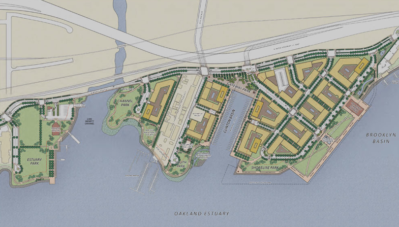 Brooklyn Basin plaN  (Signature Properties 2013,  http://www.brooklynbasin.com/images/sitemap.jpg )