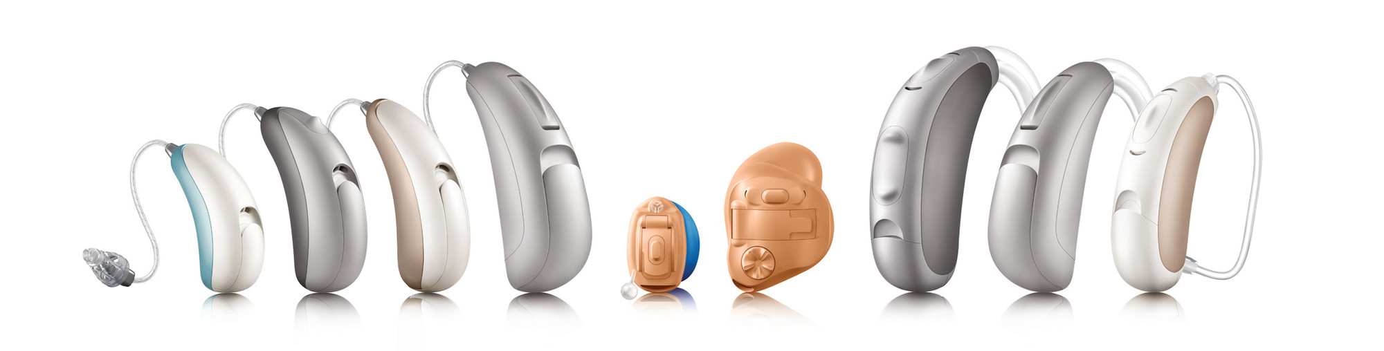 Examples of 9 different hearing aids