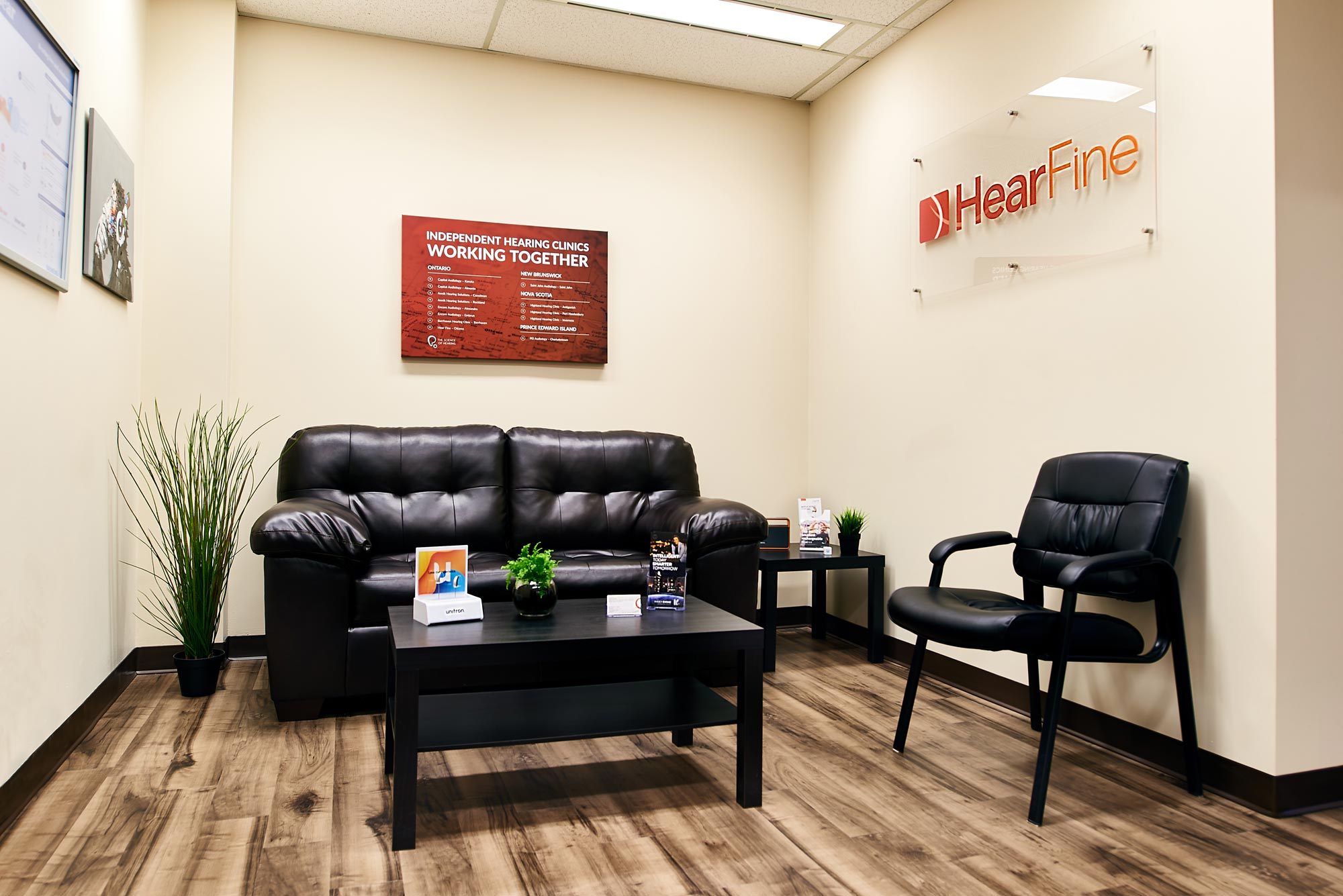Reception area of Hear Fine, Audiology Clinic in Ottawa