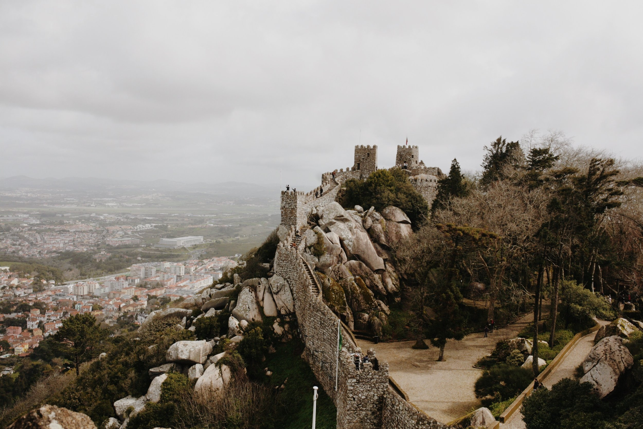 View from the walls of castelo dos mouros in sintra